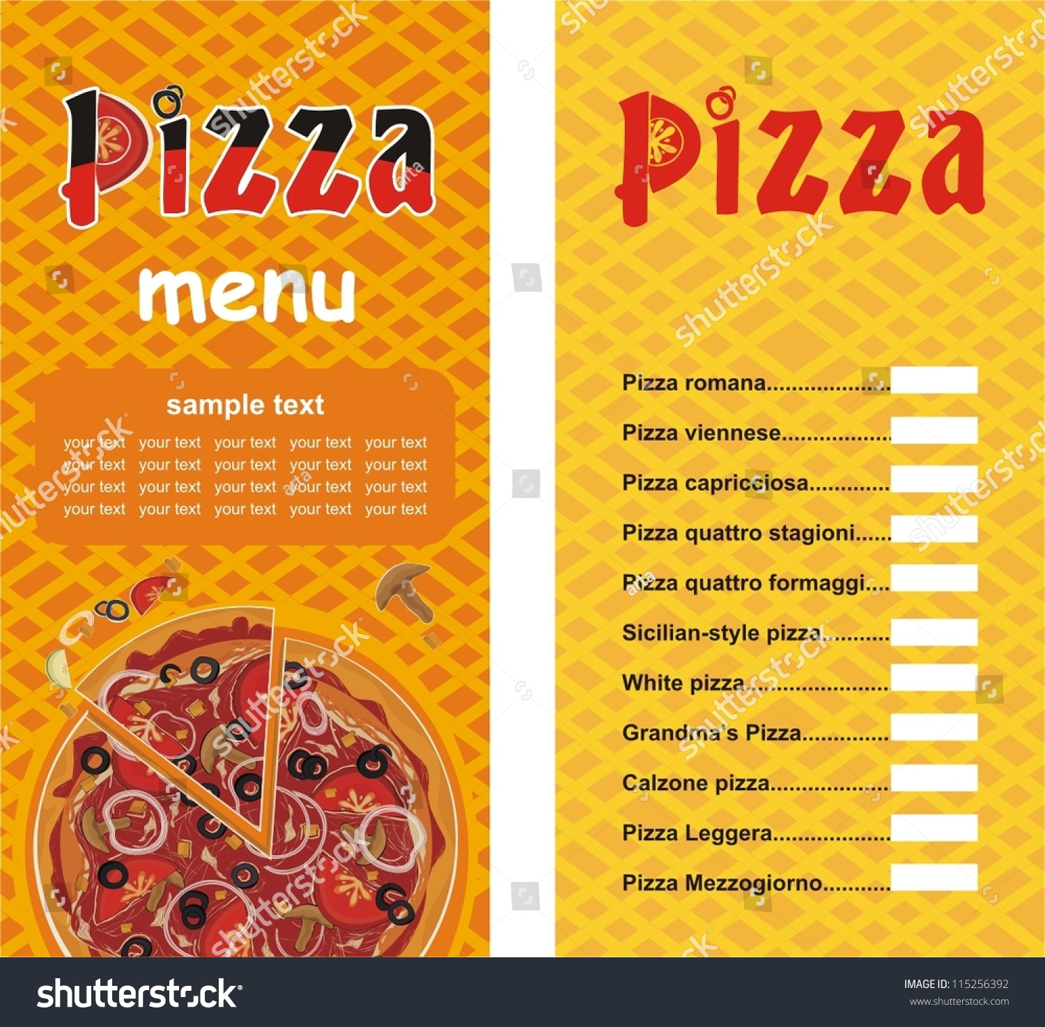 Pizza Menu Template Vector Illustration Stock Vector