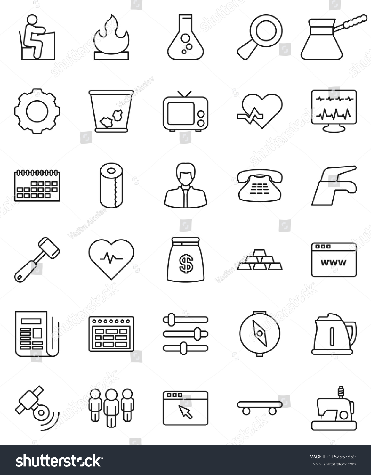 Thin Line Vector Icon Set Water Stock Vector (Royalty Free
