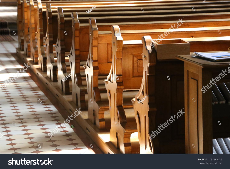 Church wooden bench