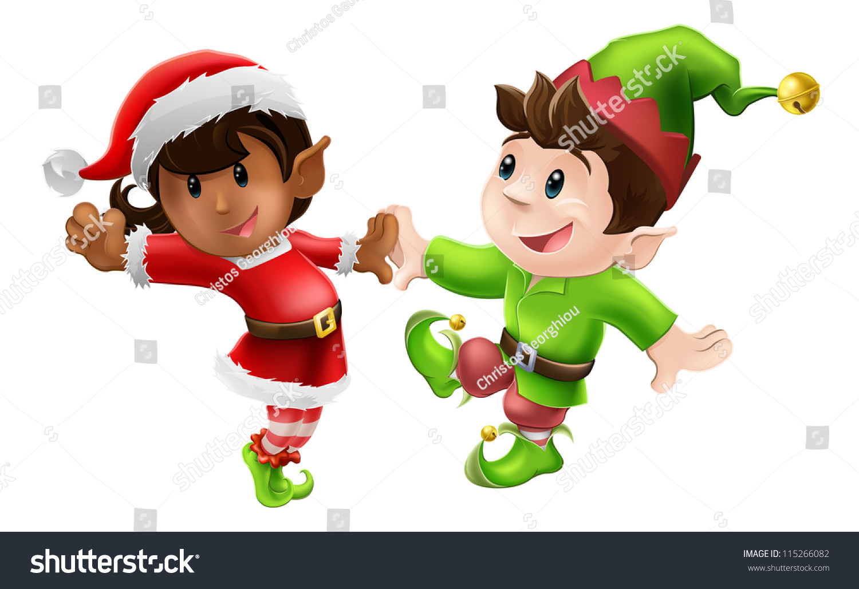 two happy christmas elves enjoying christmas stock vector 115266082
