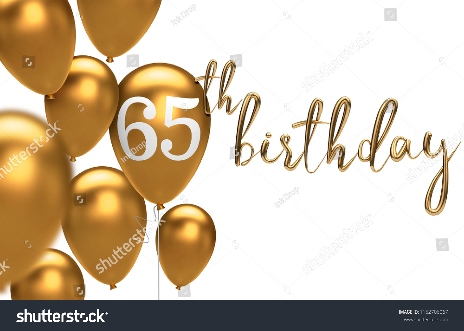 Gold Happy 65th Birthday Balloon Greeting Background 3D Rendering