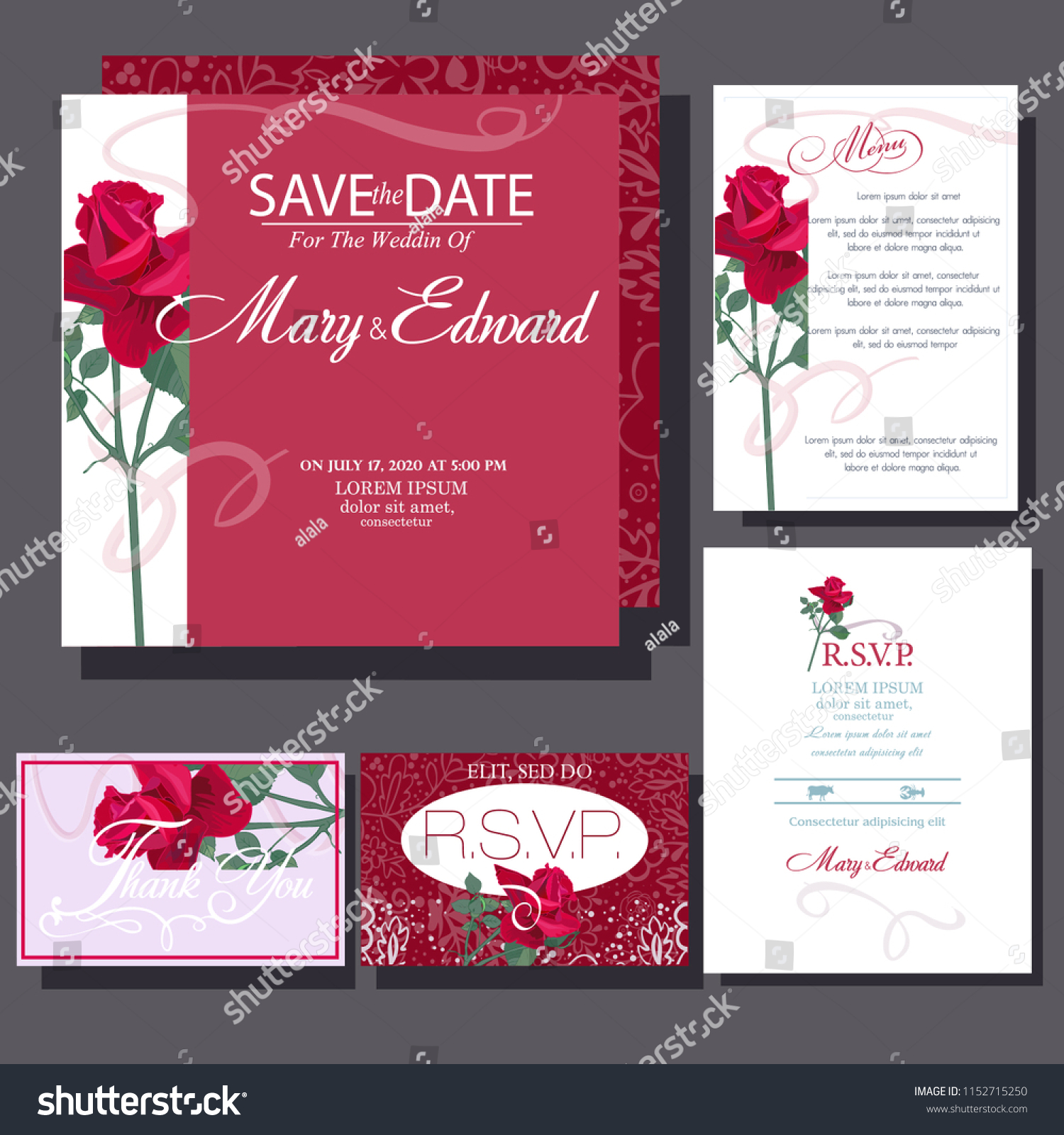 Wedding Invitation Cards Red Rose Stock Vector (Royalty Free ...