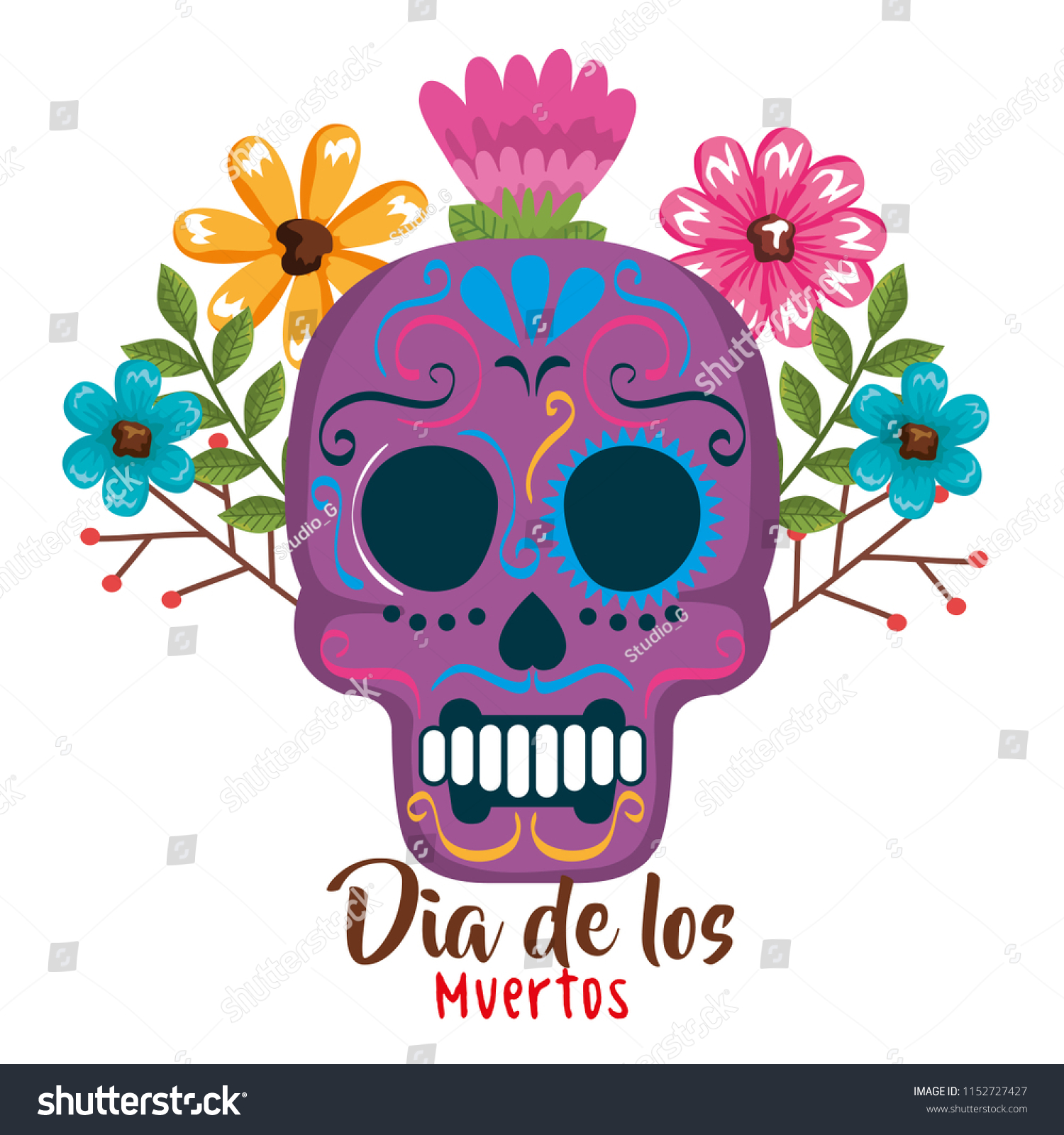 Day Dead Mask Floral Decoration Stock Vector Royalty Free