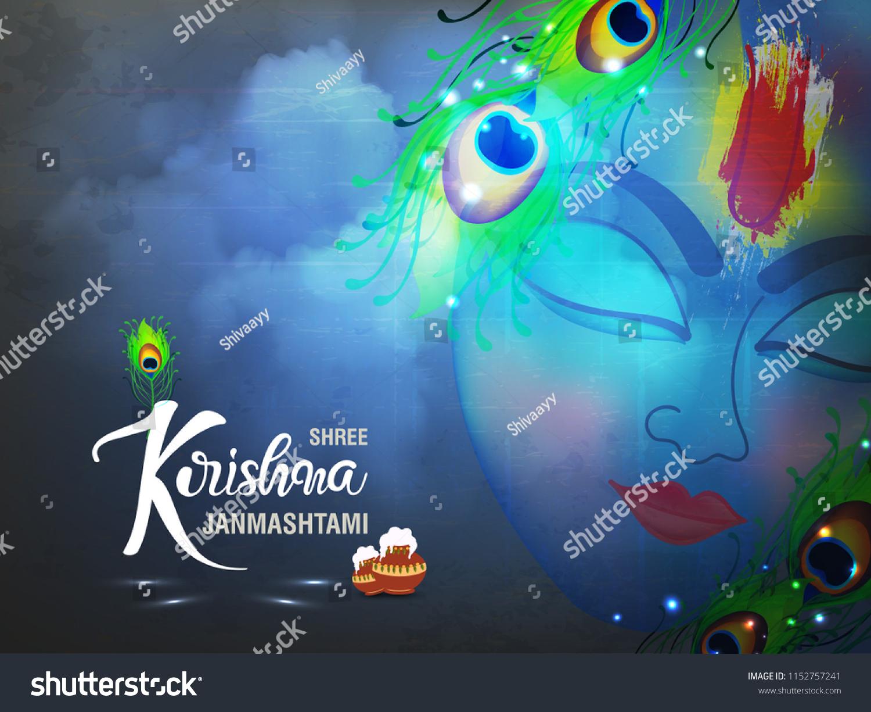 stock vector beautiful wallpaper design of lord krishna with creative text for hindu festival shree krishna 1152757241