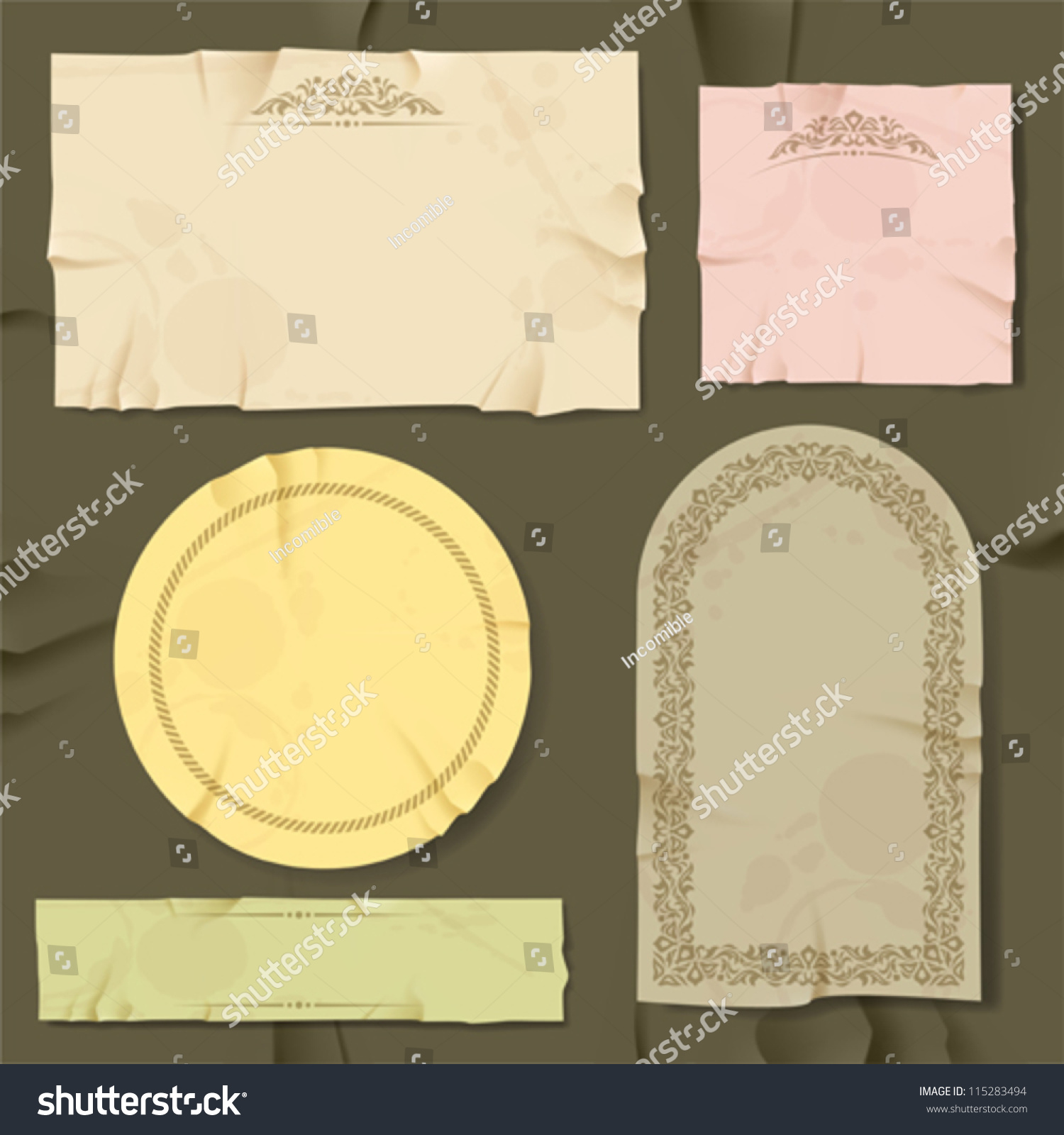 vintage retro old paper different objects stock vector 115283494 shutterstock. Black Bedroom Furniture Sets. Home Design Ideas