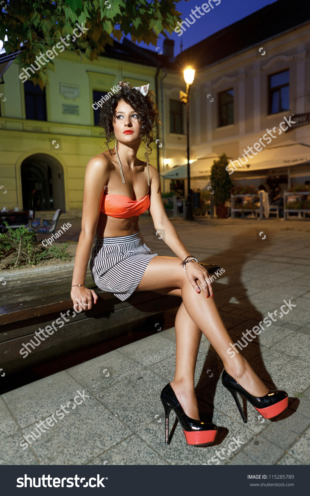 Beautiful Girl Orange Bra Short Skirt Stock Photo 115285789 ...