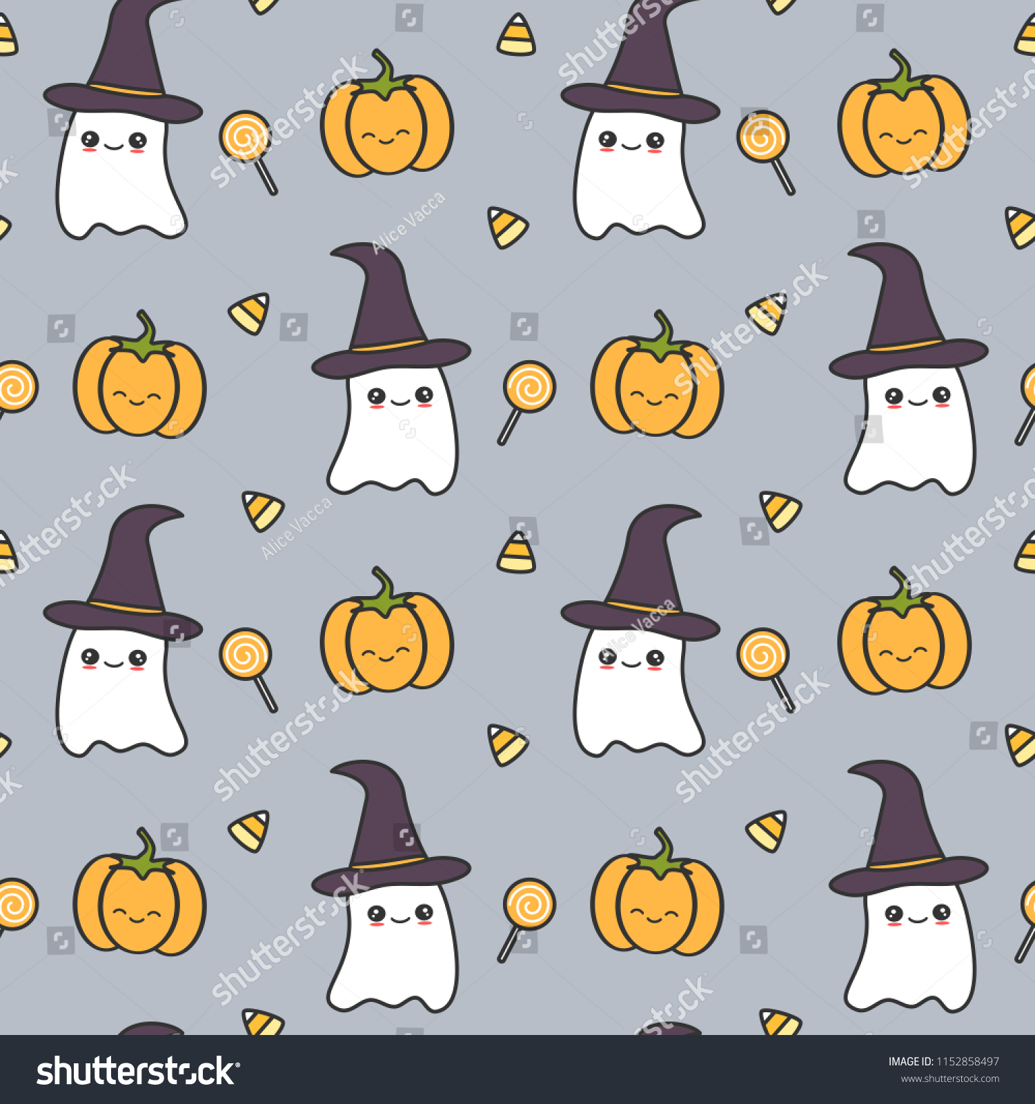cute halloween seamless vector pattern background stock vector