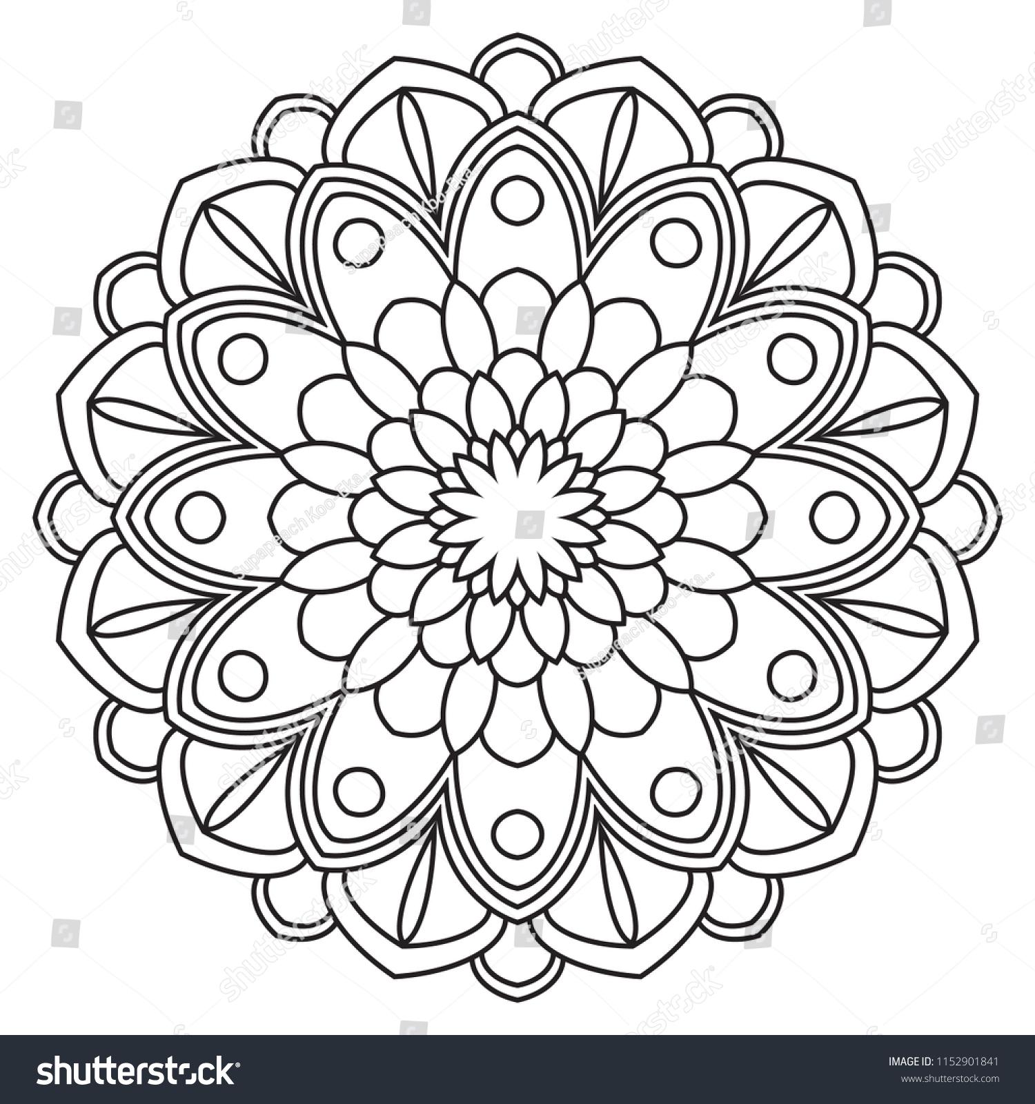 easy mandala coloring pages Easy Mandalas Simple Basic Mandala Beginners Stock Illustration  easy mandala coloring pages