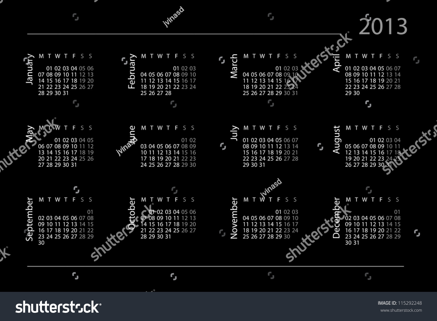 Pcb Schedule For Year 2013 Calendar For Year 2013 Stock