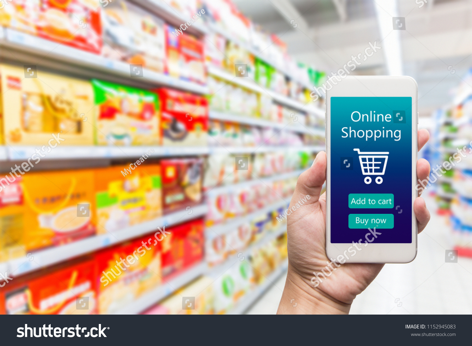 99125d1bf Men hand holding modern mobile phone with online shopping application on  Supermarket blur background