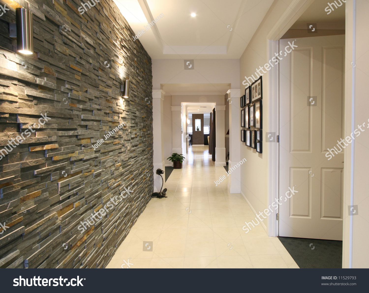 Looking down entrance hall contemporary new stock photo for Modern entrance hall
