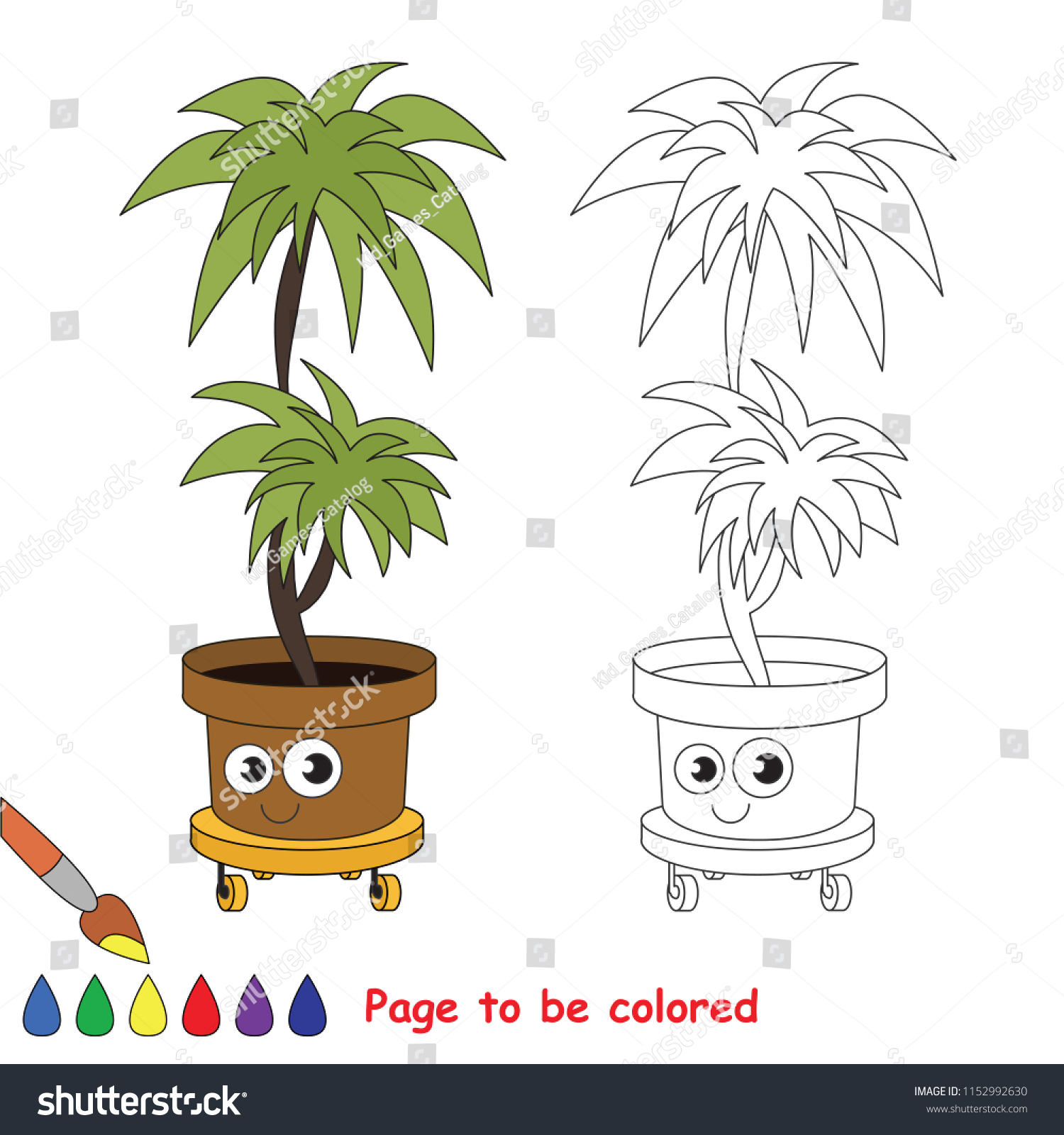 stock vector pot house palm flower to be colored the coloring book for preschool kids with easy educational