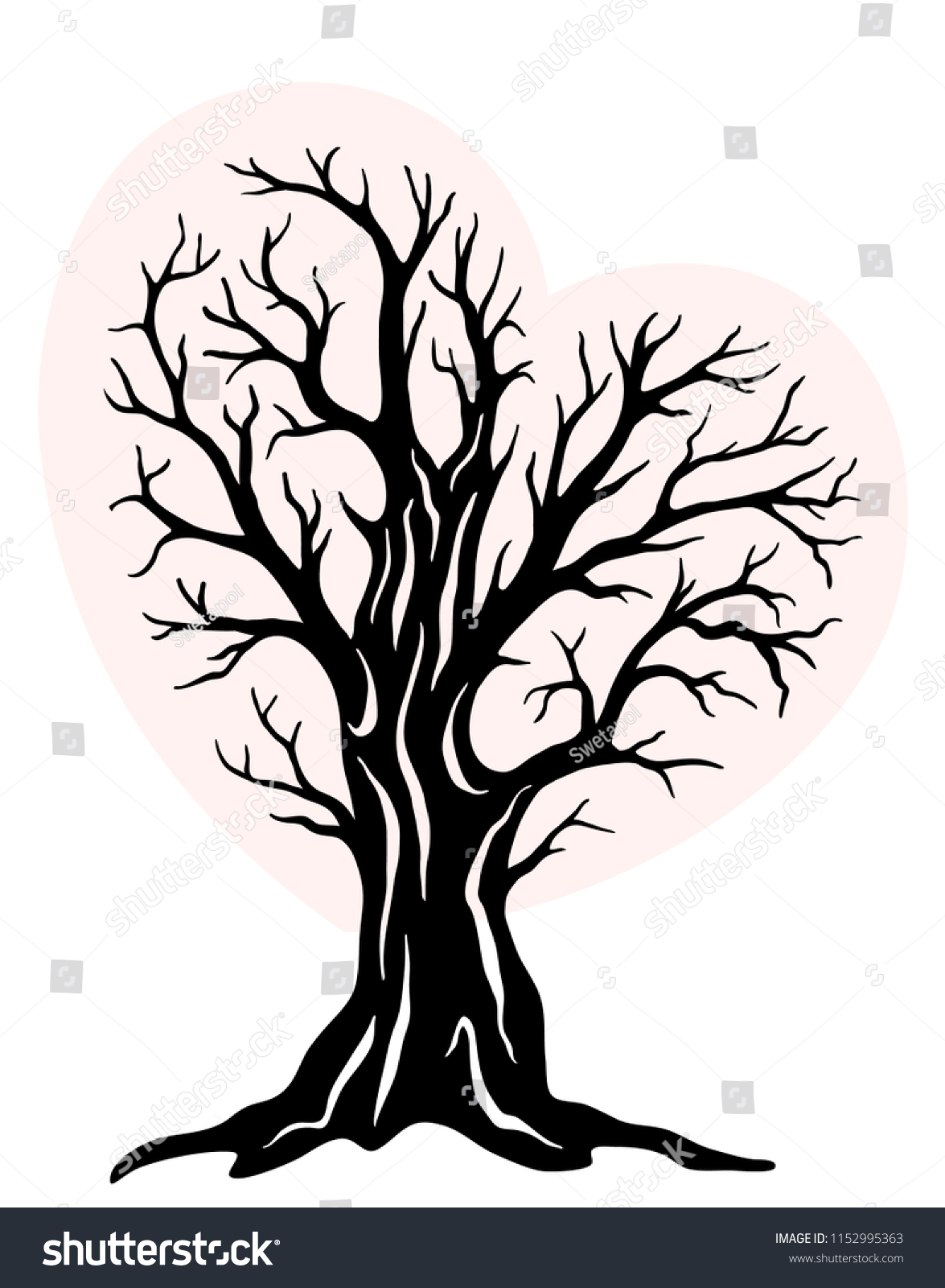 laser cut template tree shape heart stock vector royalty free