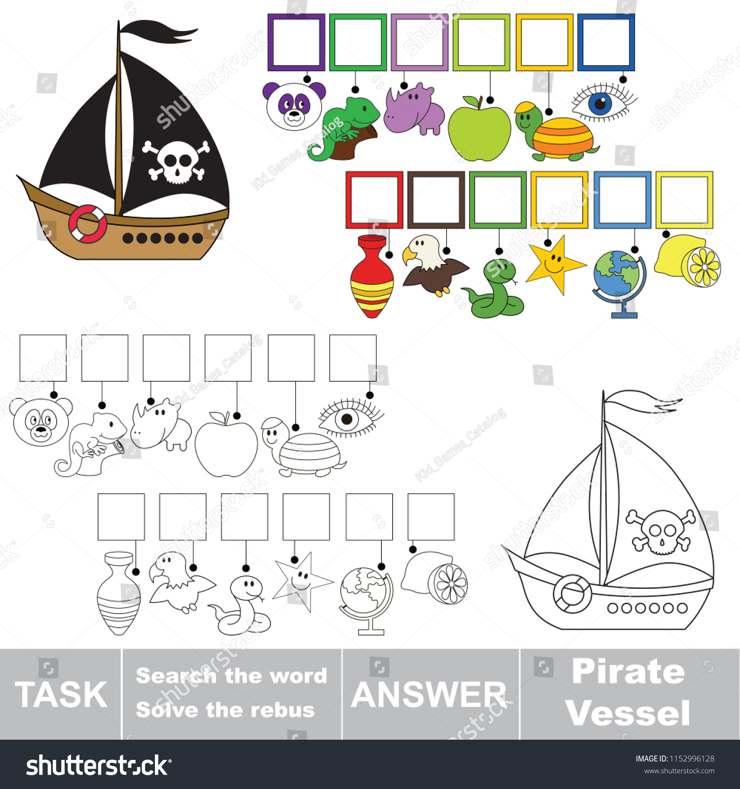 Educational Puzzle Game Kids Find Hidden Stock Vector