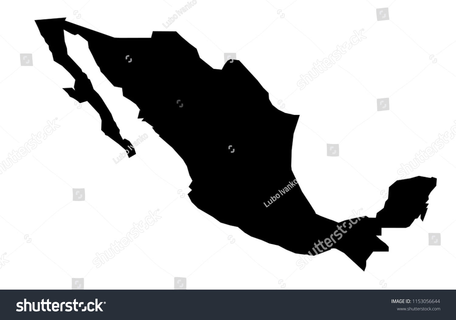 Simple Only Sharp Corners Map Mexico Stock Vector Royalty Free