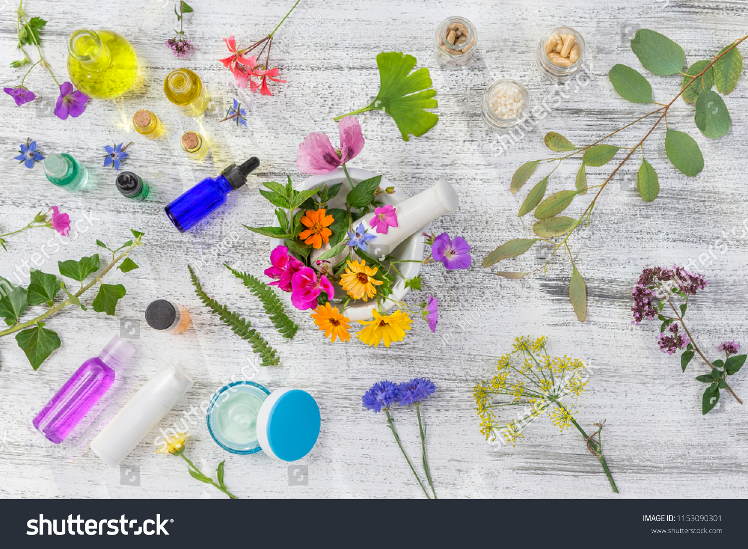 Natural Cosmetic Herbal Skin Care Products Stock Photo (Edit