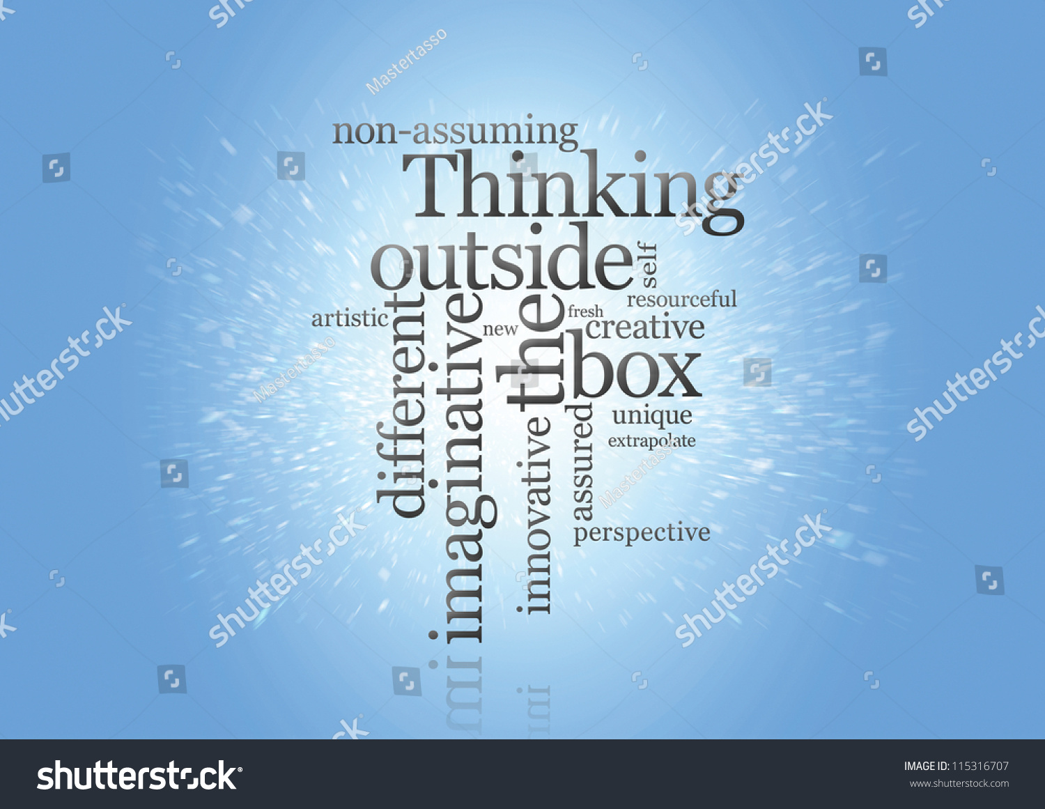thinking outside the box The 'box', with its implication of rigidity and squareness, symbolises constrained and unimaginative thinking this is in contrast to the open and unrestricted 'out of the box' or 'blue-sky' thinking.