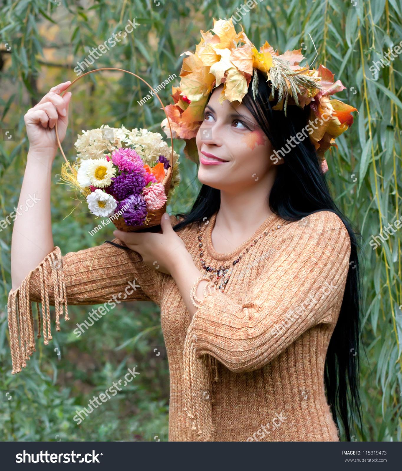 Beautiful woman flower basket stock photo royalty free 115319473 beautiful woman with flower basket izmirmasajfo
