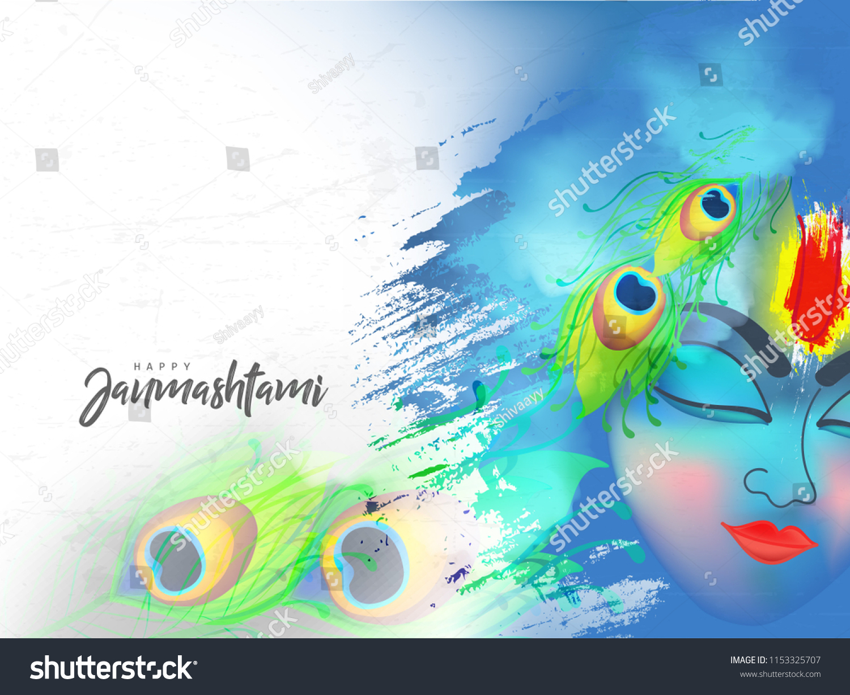stock vector beautiful illustration of lord krishna abstract wallpaper design for hindu festival shree krishna 1153325707
