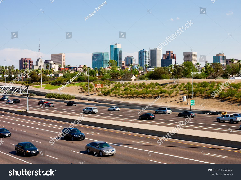 South Hills Chrysler >> Freeway Downtown Phoenix Arizona Stock Photo 115340404 ...