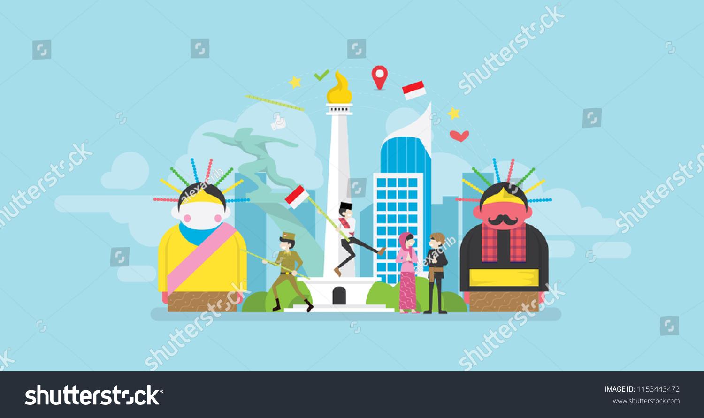 Jakarta Celebrating Indonesia Independence Day Tiny Stock Vector