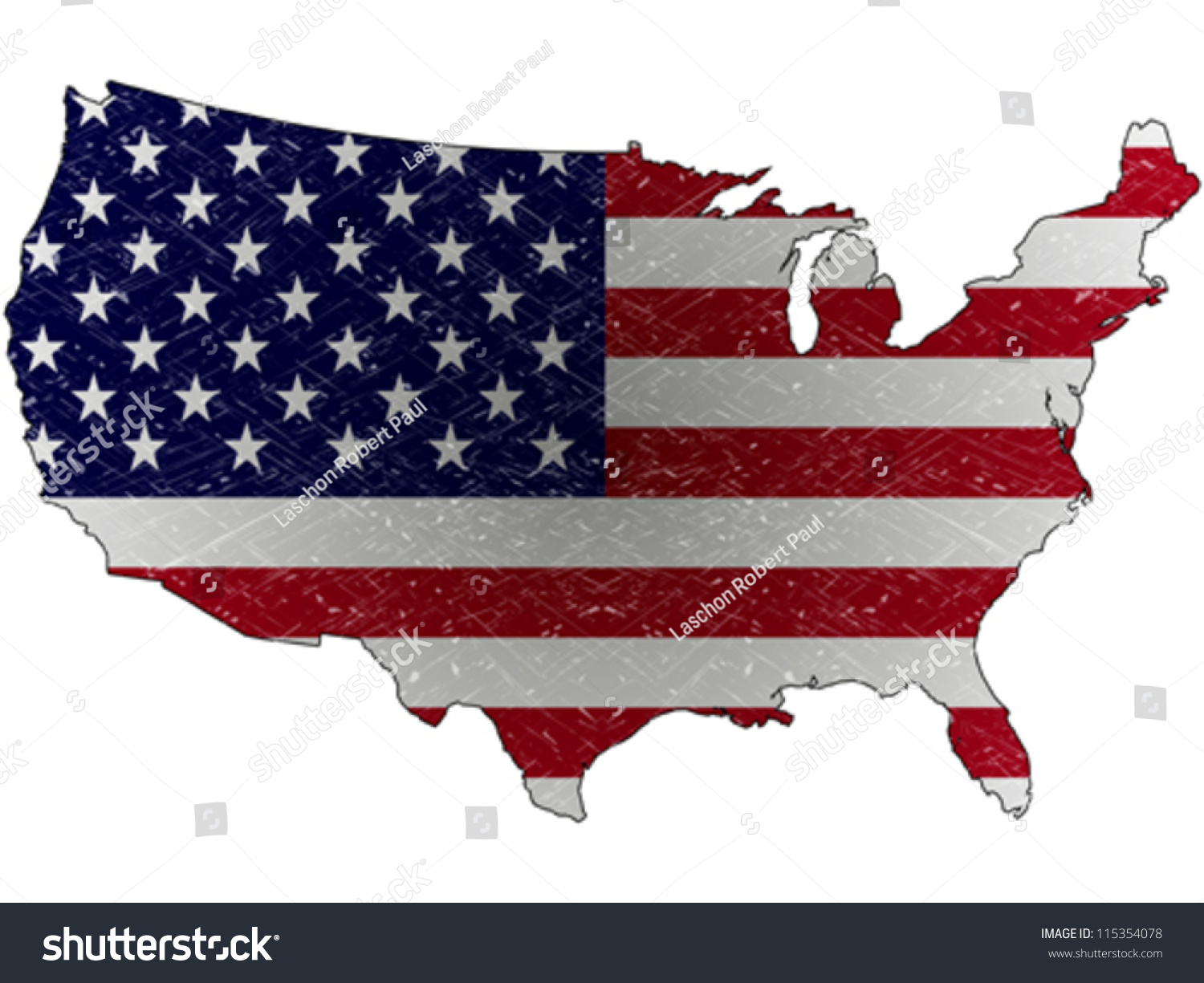 United States Grunge Map Flag Against Stock Vector
