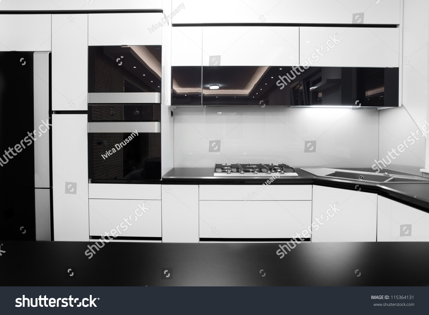 Black And White Modern Kitchen Black And White Modern Kitchen  Home Design And Decorating