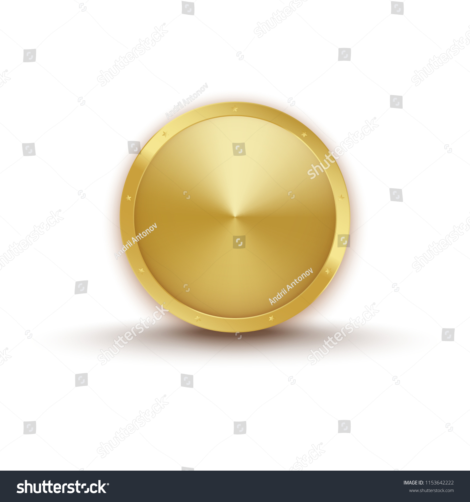 realistic gold medal shadows golden stars stock vector royalty free