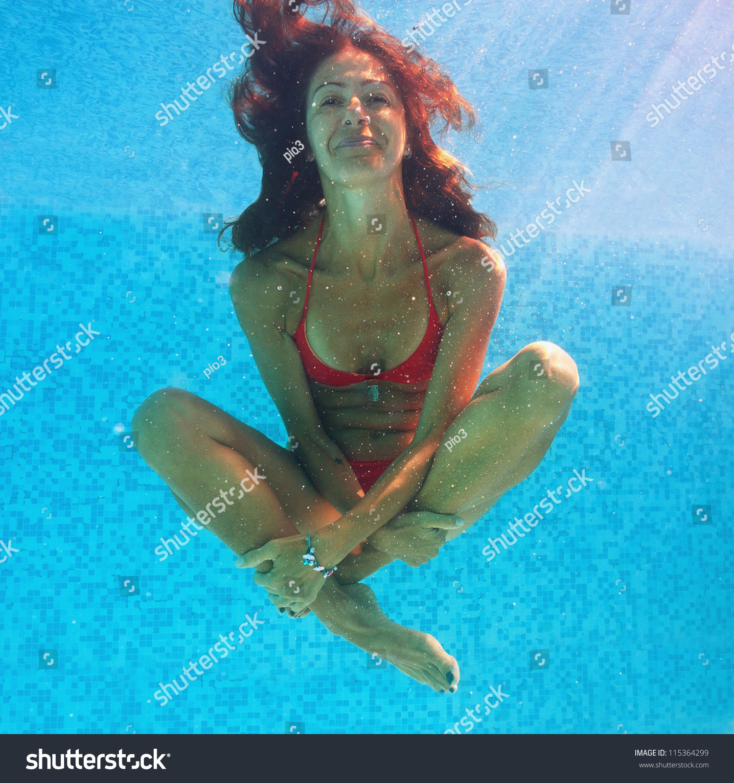 Smiling Woman Underwater Close Portrait Swimming Stock