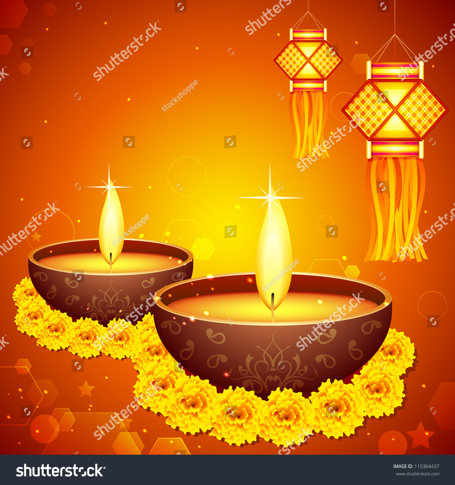 Vector Illustration Colorful Diwali Hanging Lantern Stock Vector ... for Diwali Hanging Diya  155fiz