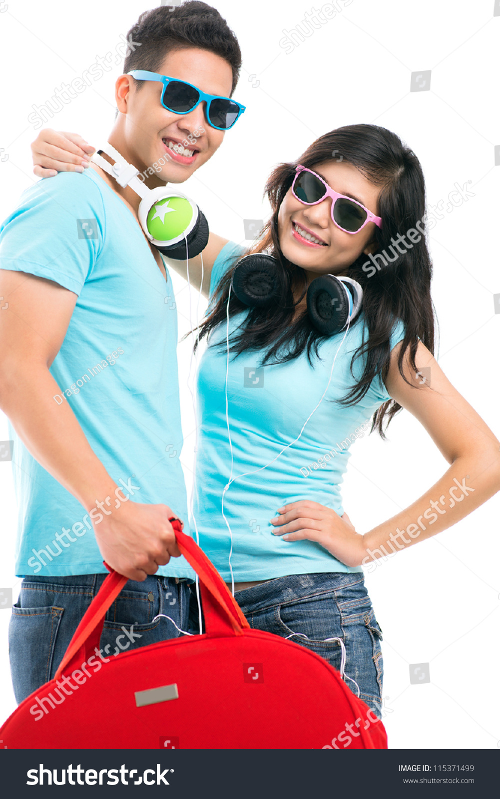 Portrait of a cool couple leaving for vacation stock photo for Cool vacations for couples