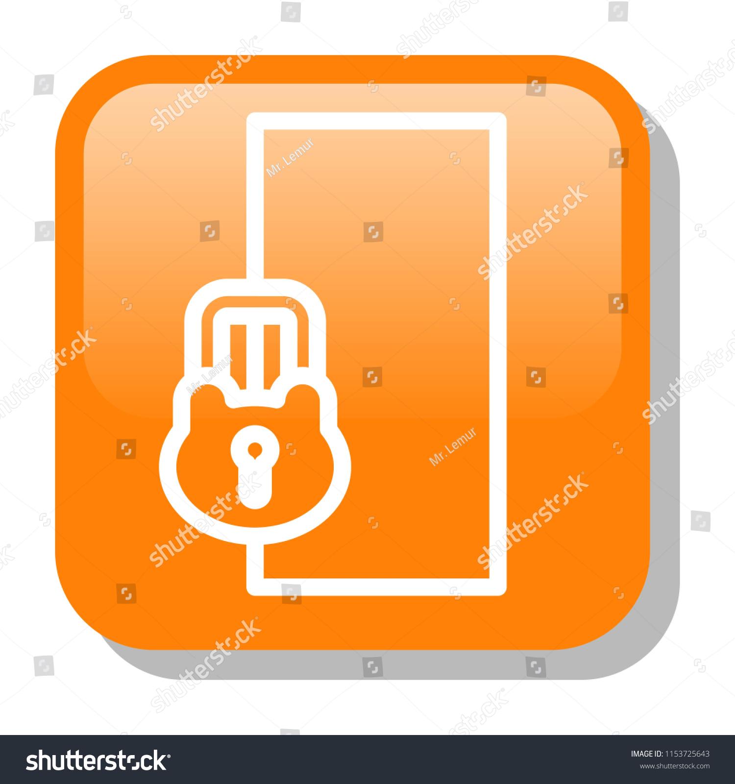 Door Icon Locked Door House Security Stock Vector Royalty Free