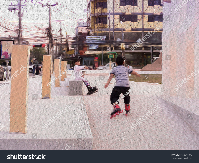 Oil Paint Roller Skate Child Park Stock Illustration 1153841875