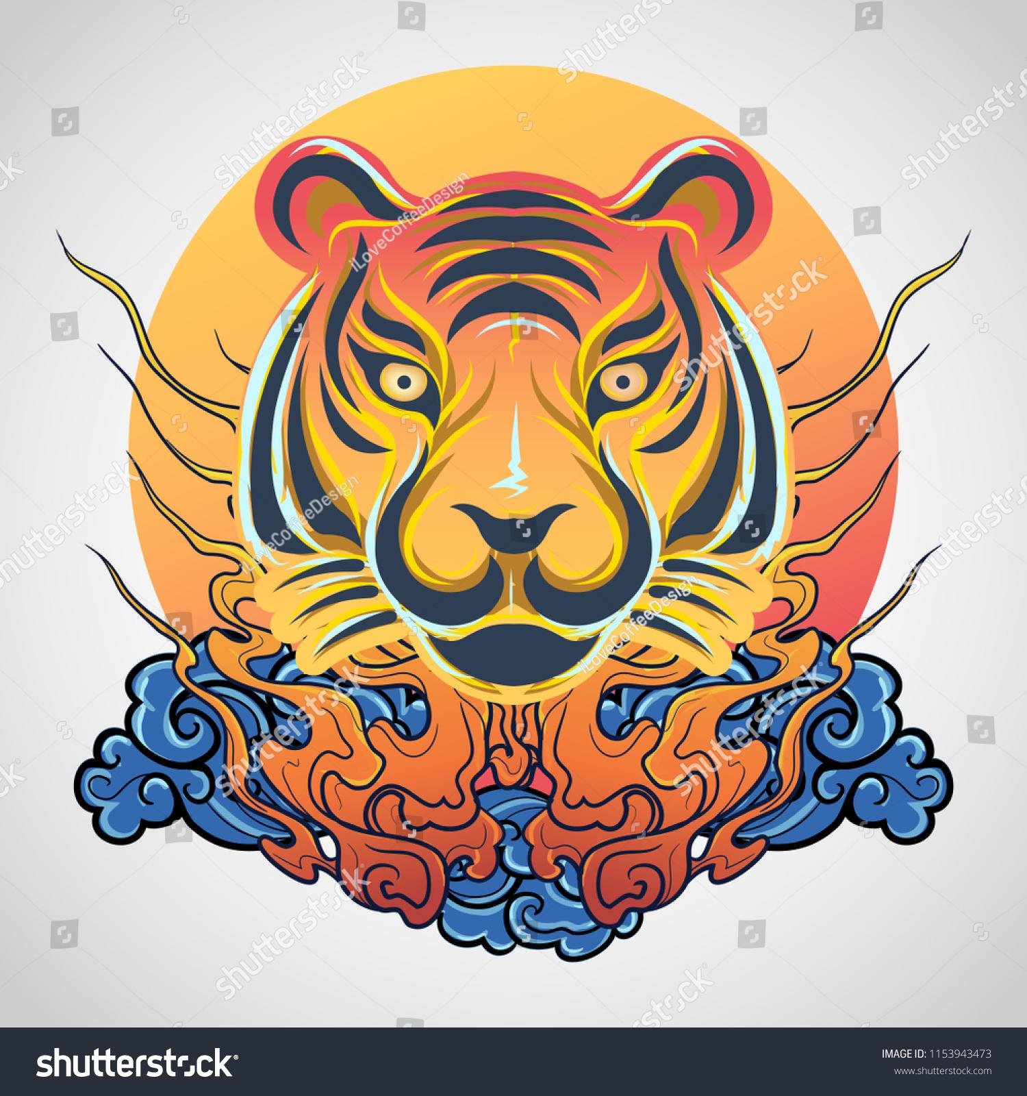 Tiger Head Tattoo Logo Icon Design Stockvector Rechtenvrij
