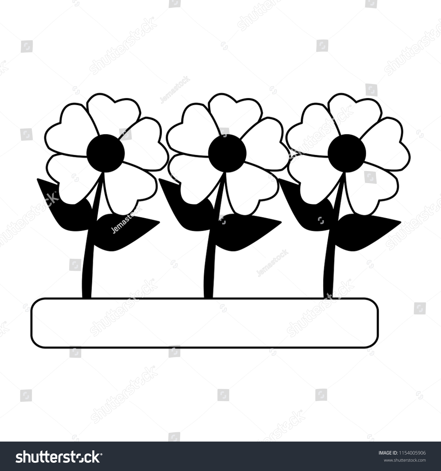 Beautiful Flowers Cartoon Black White Stock Vector Royalty Free