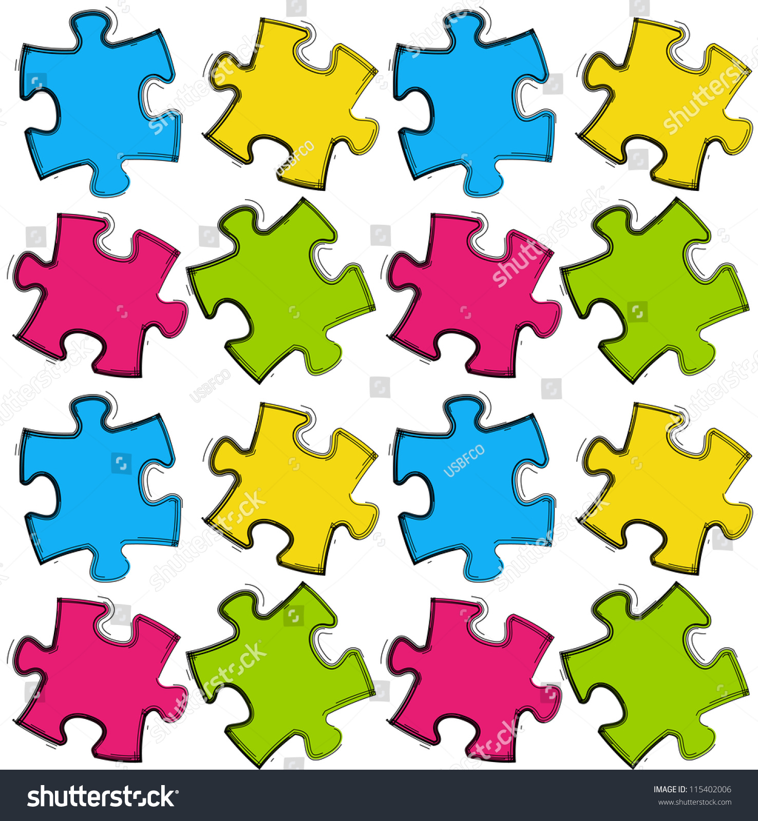 Puzzle Seamless Pattern Stock Vector Illustration ...