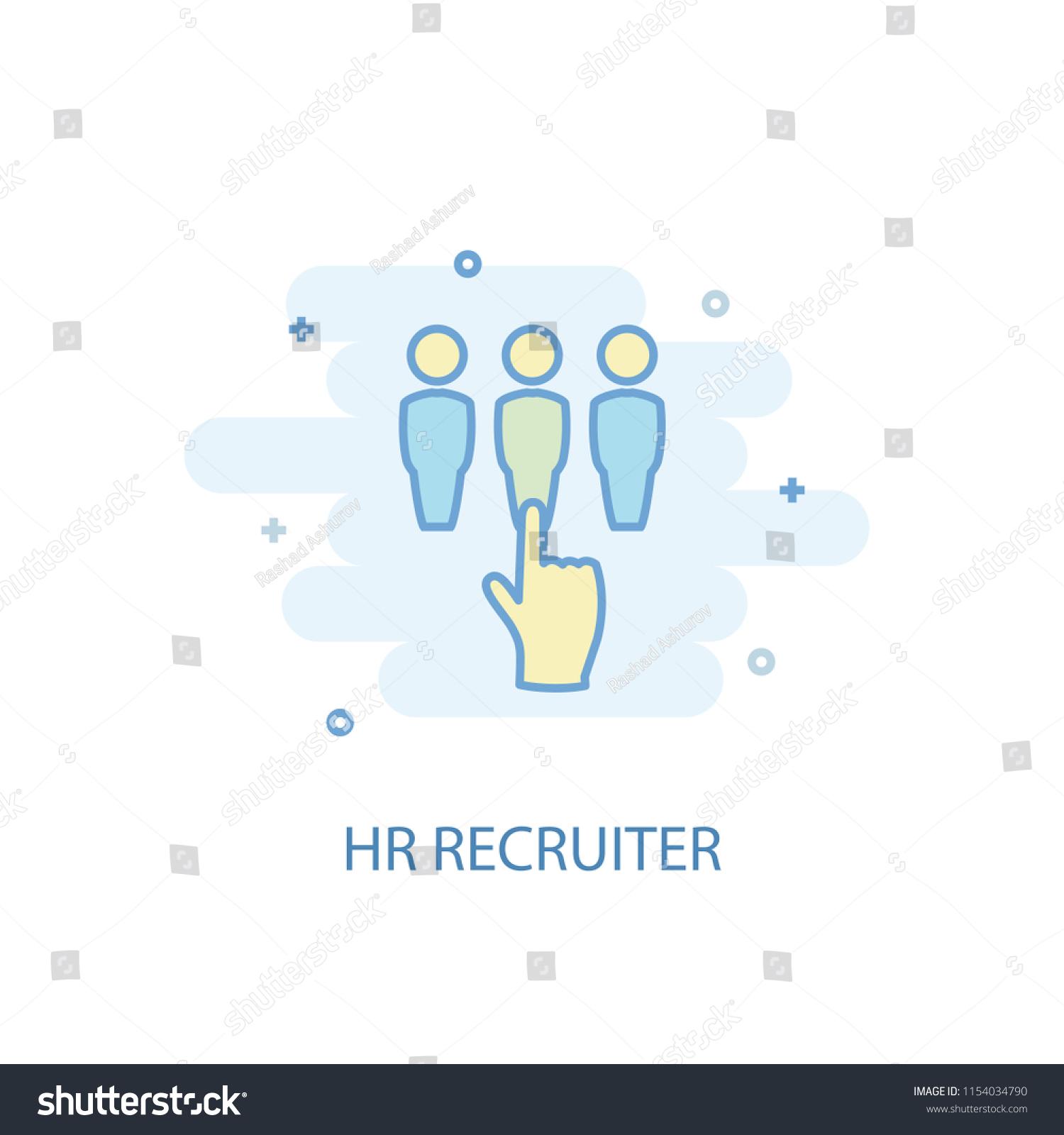 hr recruiter concept trendy icon  simple line, colored illustration  hr  recruiter concept symbol