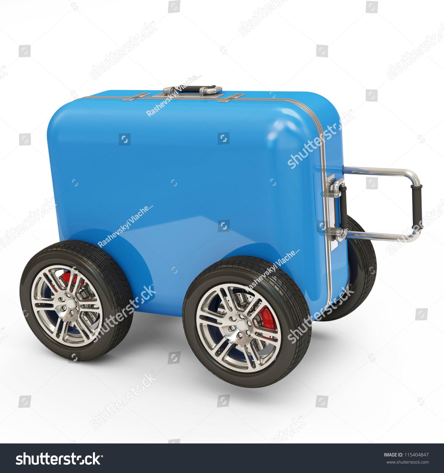 Suitcase On Wheels Isolated On White Stock Illustration 115404847 ...