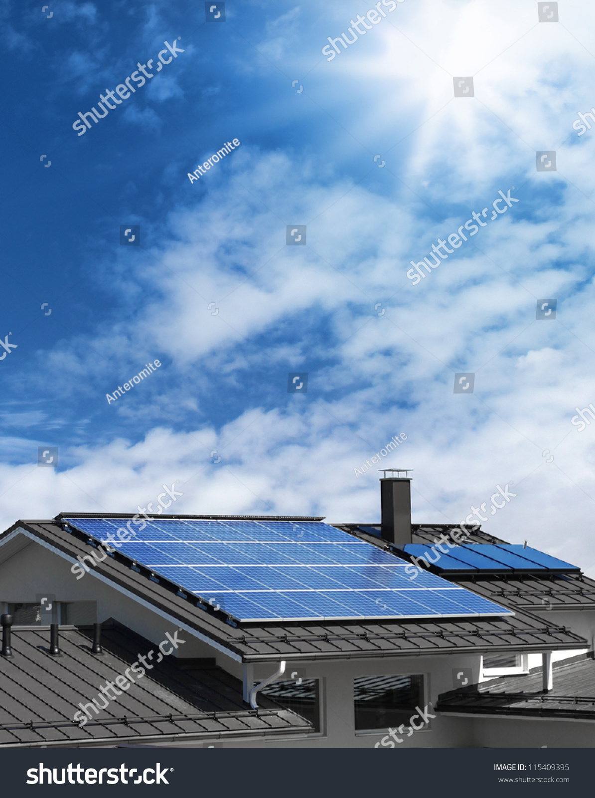 solar panel system on house roof sunny blue sky background