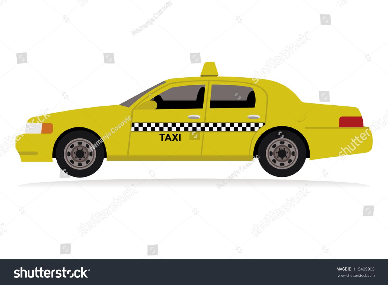 Yellow Taxi Car Stock Vector 115409905 Shutterstock