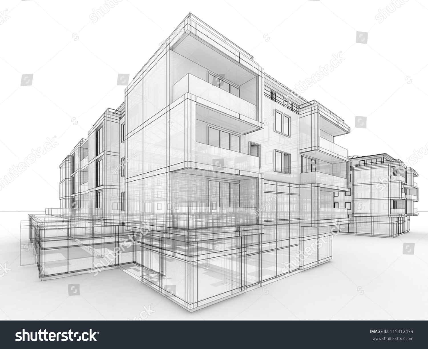 apartment building design concept architects computer stock