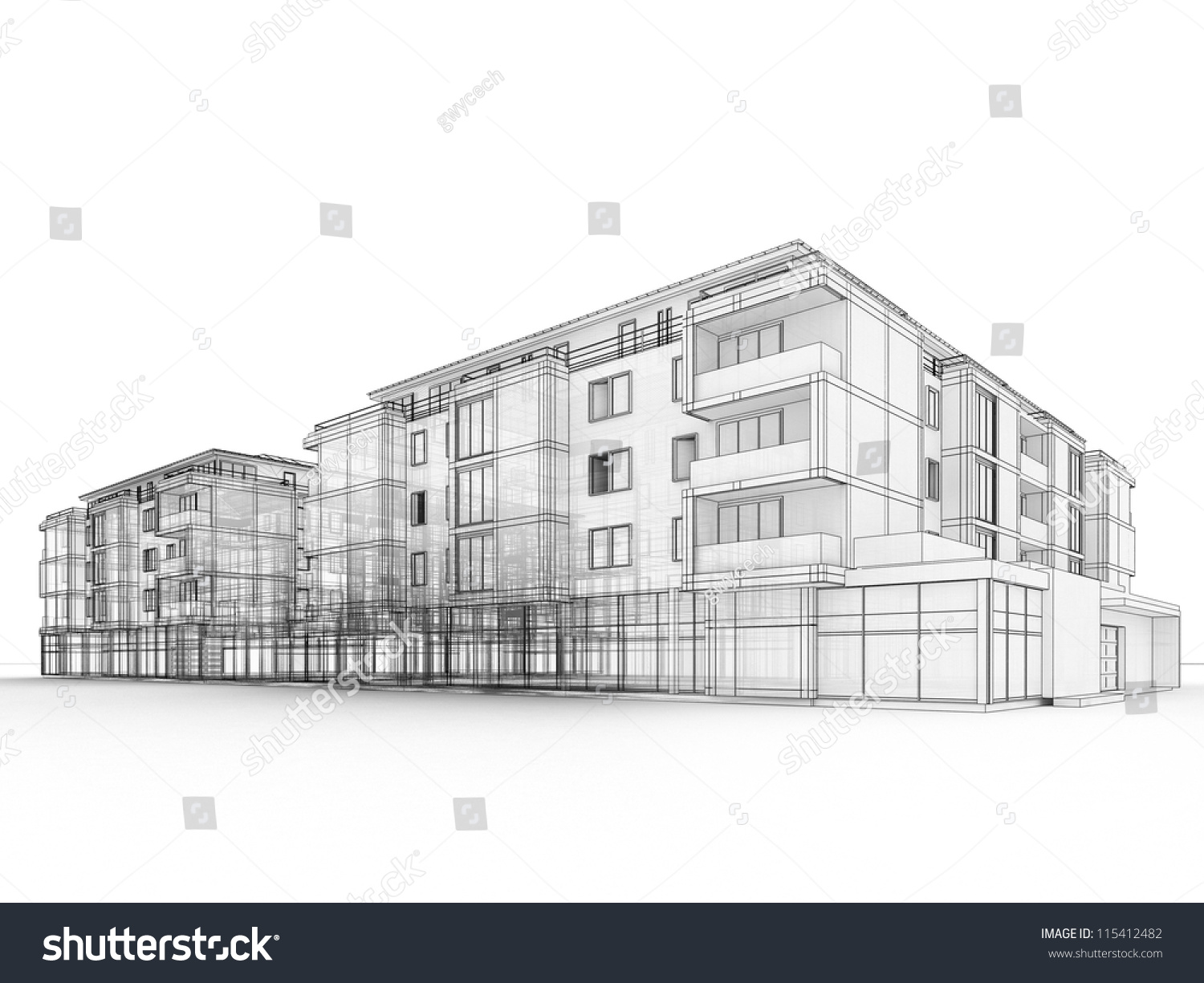Apartment Building Design Drawing Best Sketch Linear Multistory