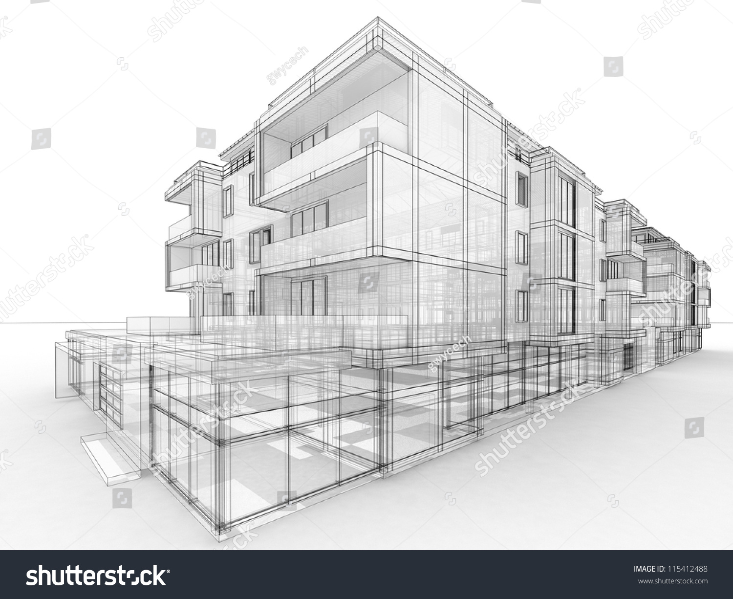 Apartment building design concept architects computer for Concept building