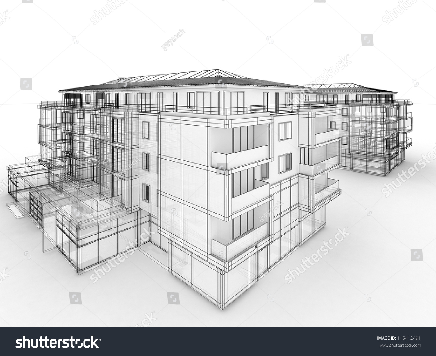 Apartment building design concept architects computer for Apartment design concept