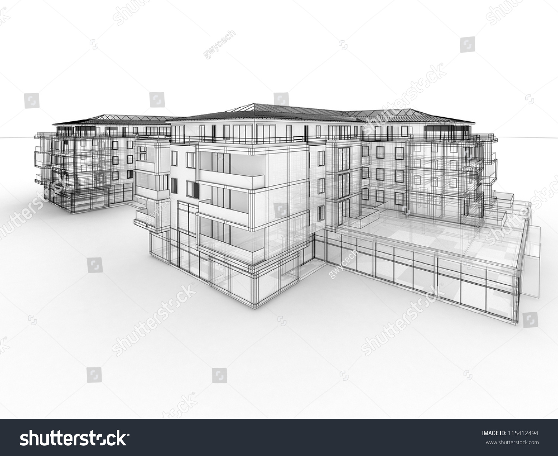 Apartment Building Design Concept Architects Computer Stock