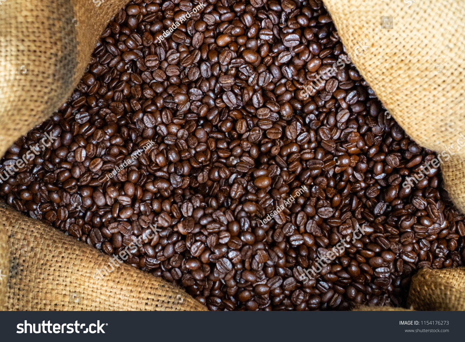 Coffee beans in canvas bag #1154176273
