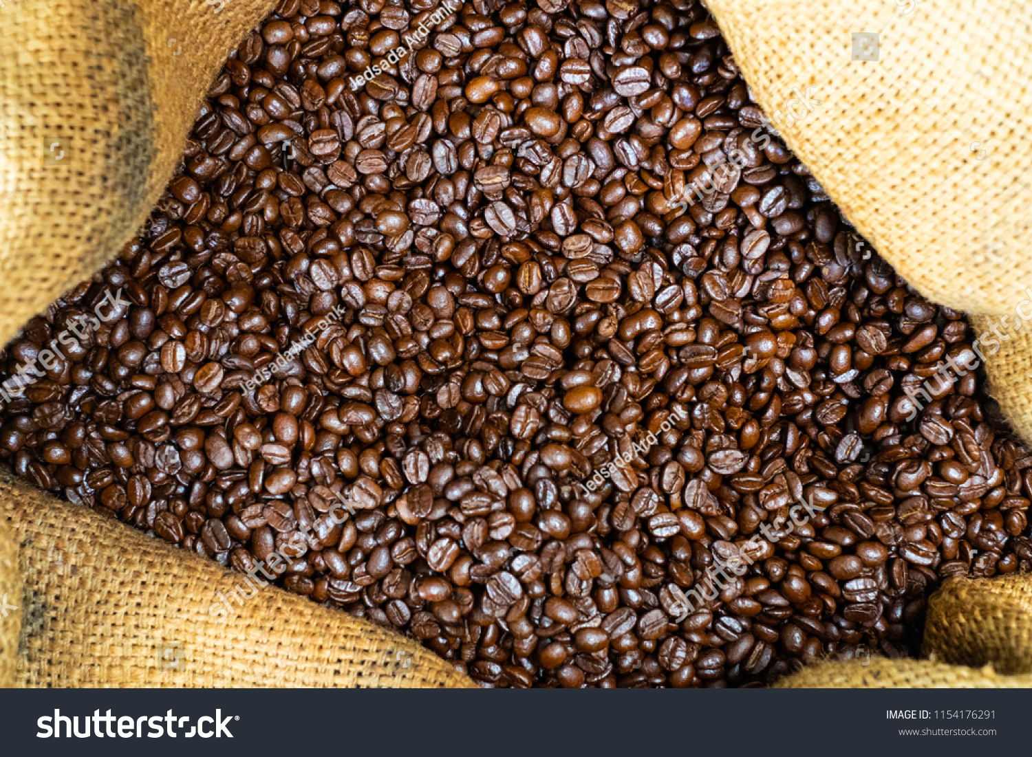 Coffee beans in canvas bag #1154176291
