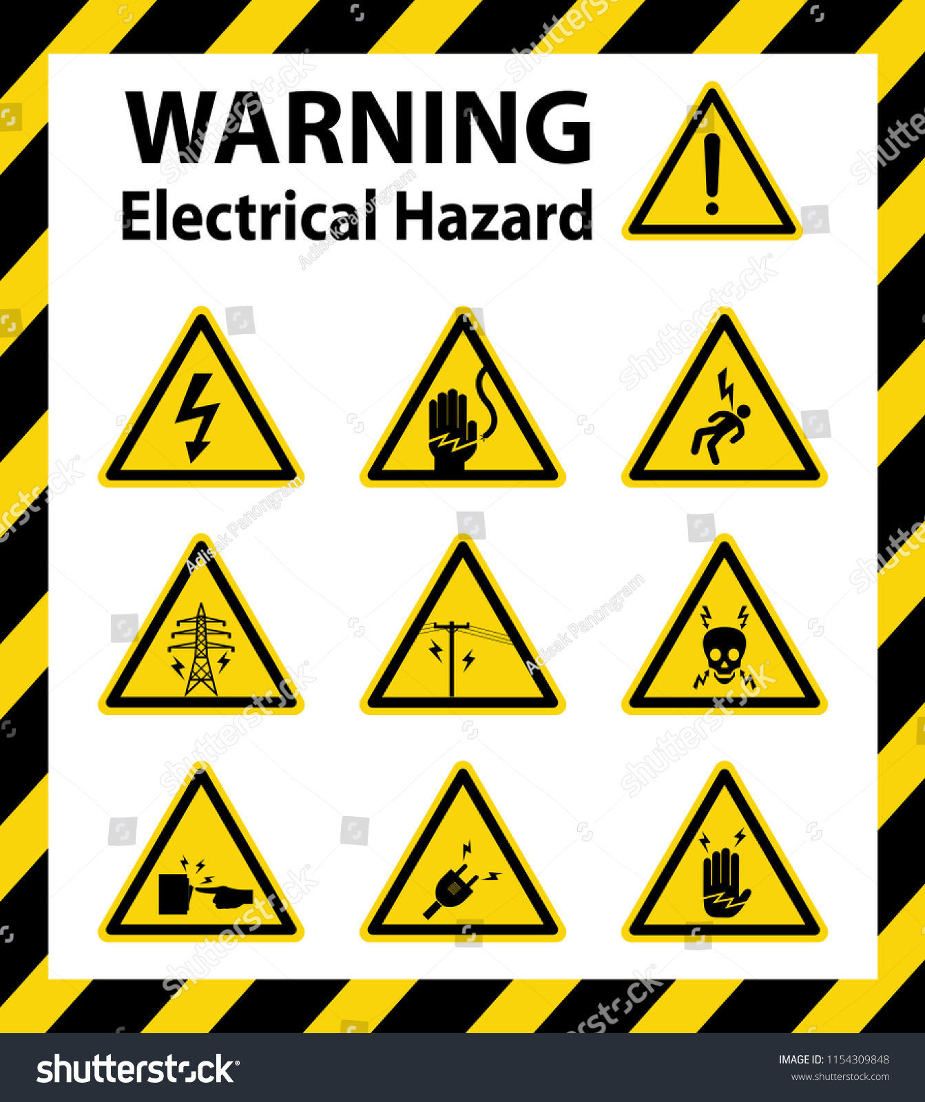 Warning Electrical Hazard Sign Symbol Vector Stock Vector Royalty