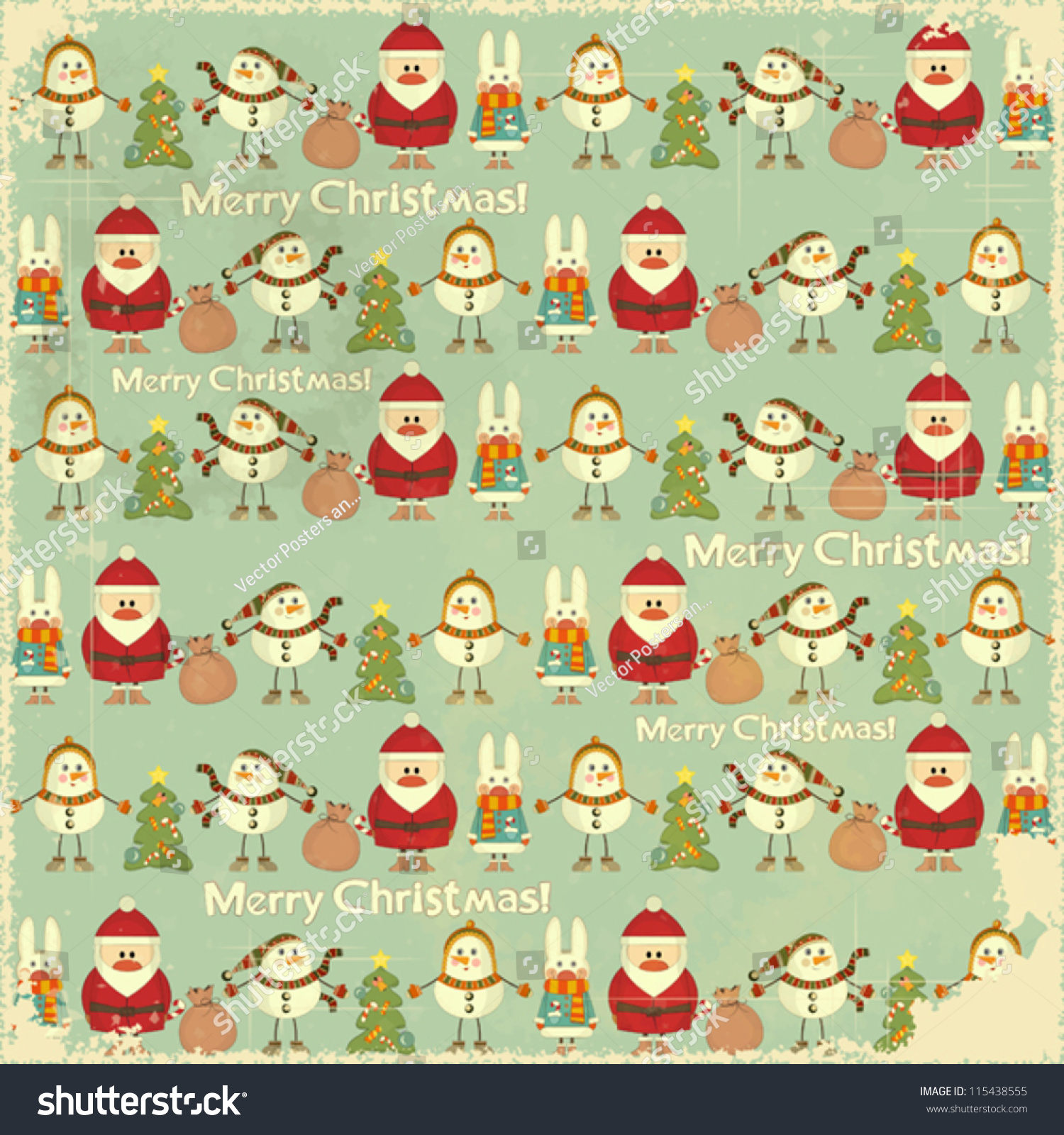 christmas vintage background signs christmas santa stock vector
