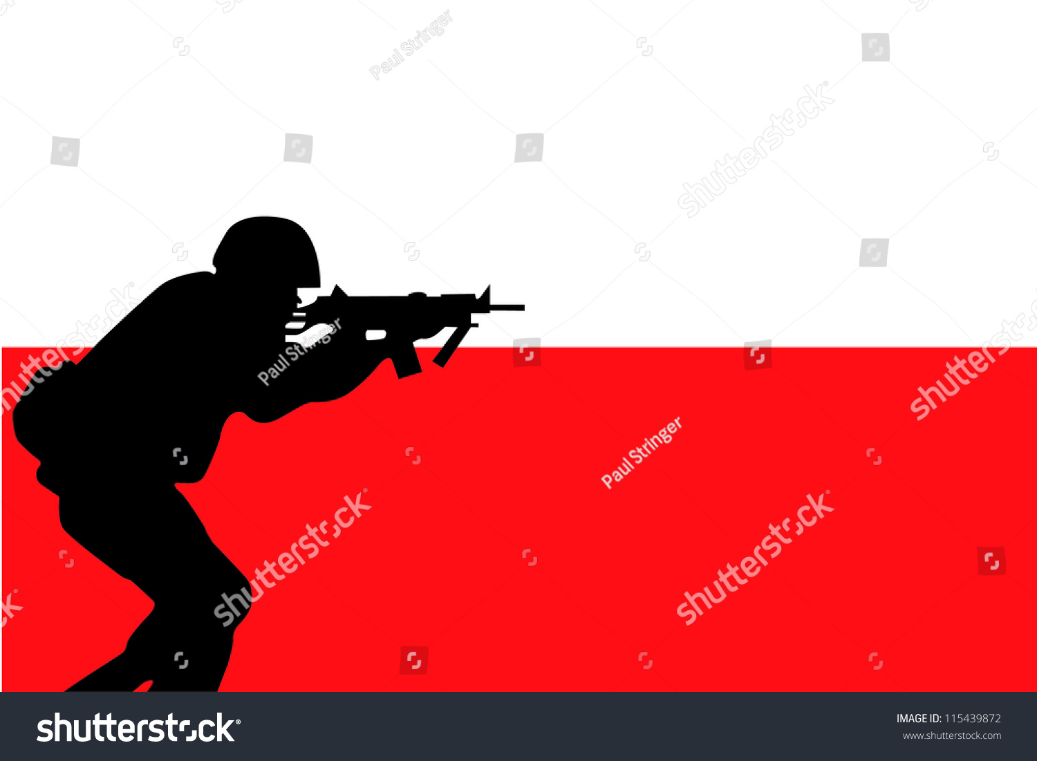 flag poland silhouette soldier aiming their stock vector 115439872